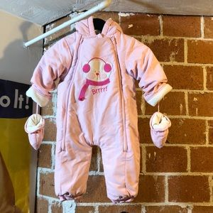 Girls hooded snowsuit with mittens, size 18 mo